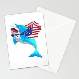 america shark 4th of july Stationery Cards