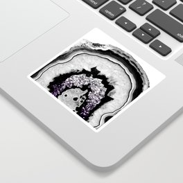 Gray Black White Agate with Purple Black Silver Glitter #1 #gem #decor #art #society6 Sticker