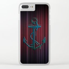 Blue Anchor With Stripes Colorful Clear iPhone Case