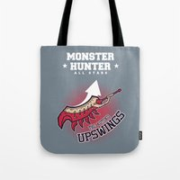 monster hunter Tote Bags featuring Monster Hunter All Stars - The Kotoko Upswings  by Bleached ink