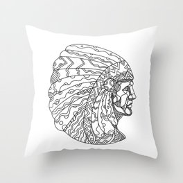 American Plains Indian with War Bonnet Doodle Throw Pillow
