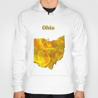ohio state Hoodies featuring Ohio Map by Roger Wedegis