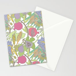 Seven Species Botanical Fruit and Grain with Pastel Colors Stationery Cards
