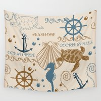 tote bag Wall Tapestries featuring Sea Shore Tote Bag Design With Turtles, And Other Ocean Items by Moonlake Designs