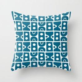 Funky Mid Century Modern Pattern Peacock Blue Throw Pillow