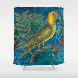 Carolina Parakeet with Cypress, Antique Natural History and Botanical Shower Curtain