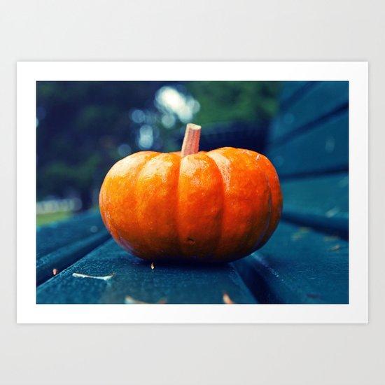 Park bench pumpkin Art Print
