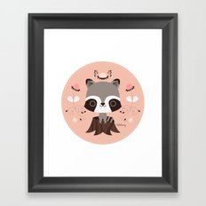 Spring Day Raccoon Framed Art Print