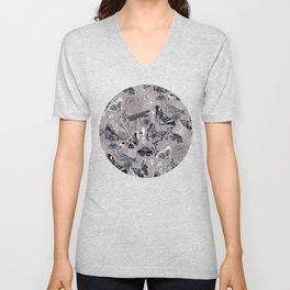 Dragonflies, Butterflies and Moths With Plants on Grey Unisex V-Neck