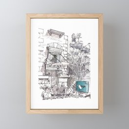 Black and White Urban Sketching Framed Mini Art Print