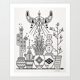 Santa Fe Garden – Black Ink Art Print