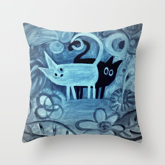 cats in blue Throw Pillow