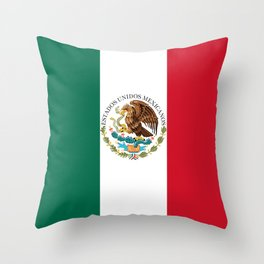 Flag of Mexico - alt version with seal insert Throw Pillow