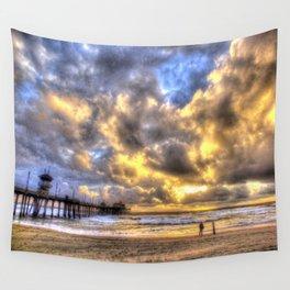 A Fire Sky Sunset * Huntington Beach Pier Wall Tapestry