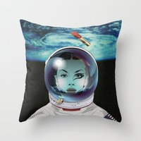 pilot Throw Pillows featuring Miss Space Pilot by SEVENTRAPS