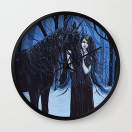Midnight Travelers Gothic Fairy and Unicorn Wall Clock