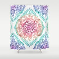 indian Shower Curtains featuring Indian Ink - Rainbow version by micklyn