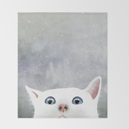 Curious White Cat Throw Blanket