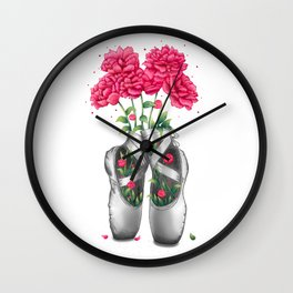 Pointe with pink peonies Wall Clock