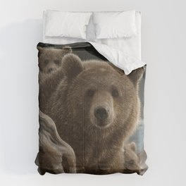 Brown Bear With Cubs - Backpacking Comforters