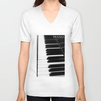 piano V-neck T-shirts featuring Piano by Falko Follert Art-FF77