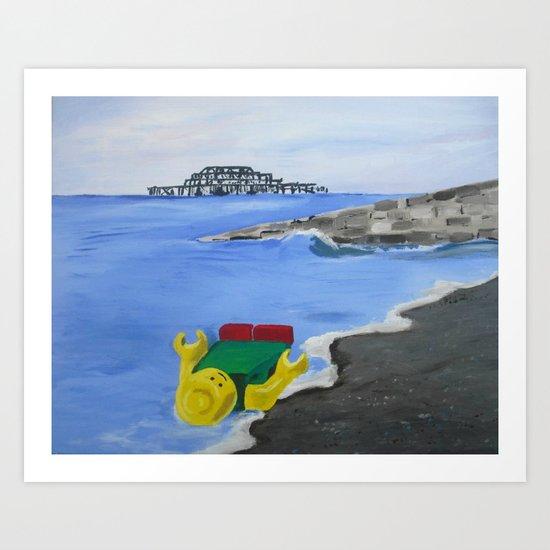 Lego Beach Acrylics Impressionist Fine Art Art Print