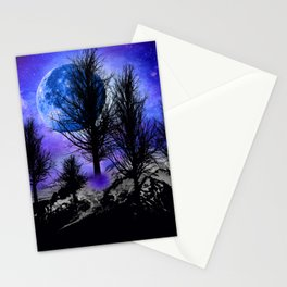 NEBULA STARS MOON BLACK TREES MOUNTAINS VIOLET BLUE Stationery Cards