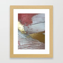 Darling [2]: a minimal, abstract mixed-media piece in pink, white, and gold by Alyssa Hamilton Art Framed Art Print