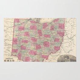 Vintage Map of Ohio (1864) Rug