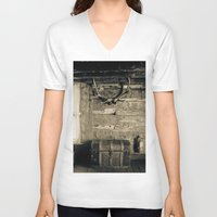 cabin V-neck T-shirts featuring Colorado Cabin by Katya laRoche Anderson