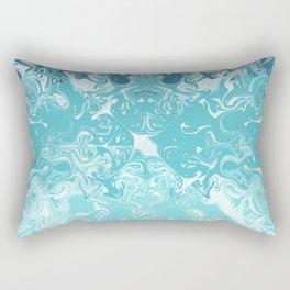 Teal And Aqua Acrylic Paint Pour Rectangular Pillow