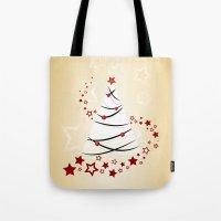 christmas tree Tote Bags featuring christmas tree by Li-Bro