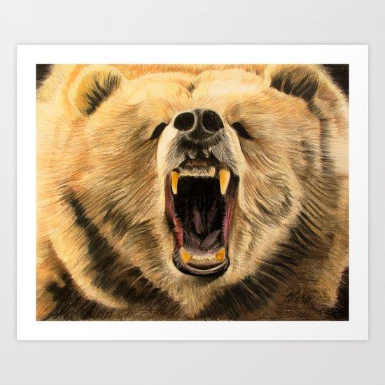 Roaring Bear Art Print