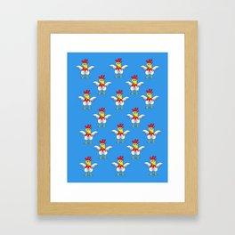 Chicken or Egg? (blue) Framed Art Print