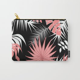 Black and white flamingo pink color leaves summer tropical leaf Carry-All Pouch