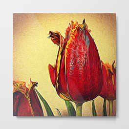 Frilly Tulips Metal Print