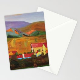 Tuscany Vineyards, Orchards, Village & Rolling Hills landscape painting by Egon Schiele Stationery Cards