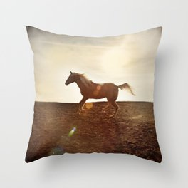 Horse In Landscape Throw Pillow