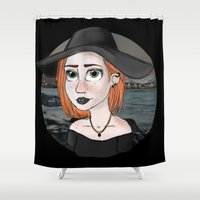 ginger Shower Curtains featuring Ginger by Julia Kolos