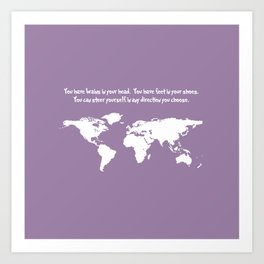 World Map with Dr. Seuss Quote Art Print