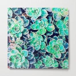 Green succulent garden- teal green succlent watercolor background  Metal Print
