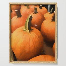 Pumpkins on Cart Serving Tray