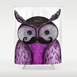 Mustache Owl  Shower Curtain