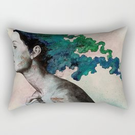 Moral Eclipse (colorful hair woman with moths tattoos) Rectangular Pillow