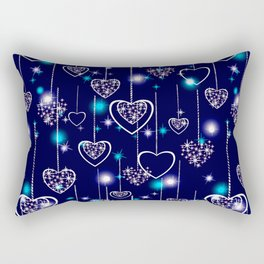 Openwork hearts on bright blue background. Rectangular Pillow