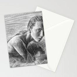 On the Precipice of a Dream Female Form Line Drawing Stationery Cards