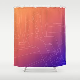 polygon lines girl Shower Curtain