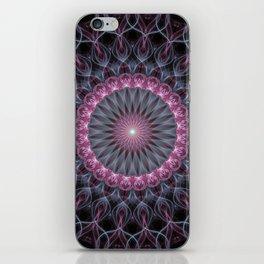 Glowing pink mandala iPhone Skin