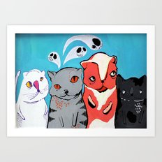 Technicolour Dream Cats Art Print