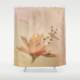 Dragonflies and Water Lily Shower Curtain